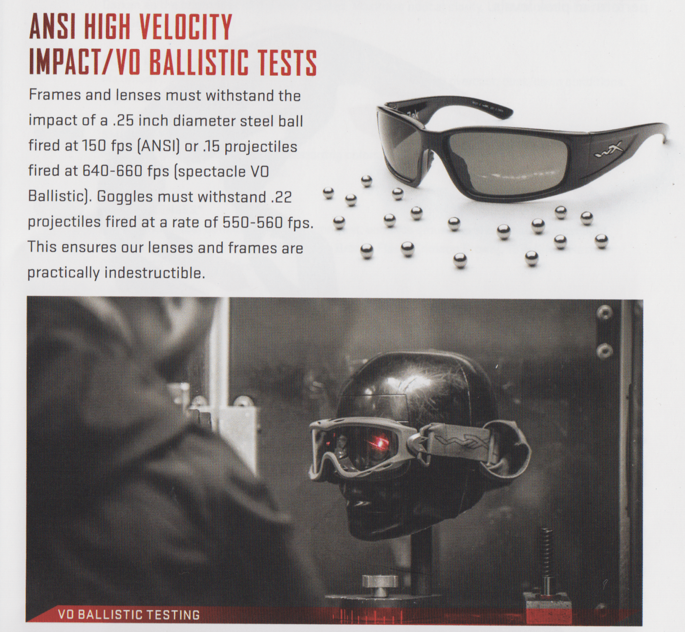 Wiley-X Safety testing frames